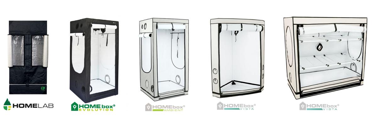 Homebox: Unterschied zwischen Growlab, Evolution, Ambient und Vista